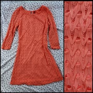 Red Camel Coral Dress with Belt Loops XS
